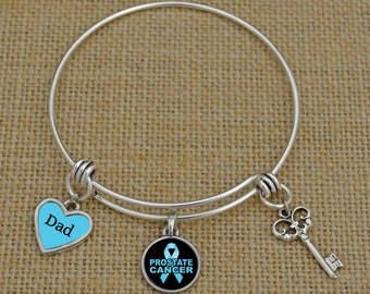 Custom Loved One Prostate Cancer Awareness Memory Wire Bracelet