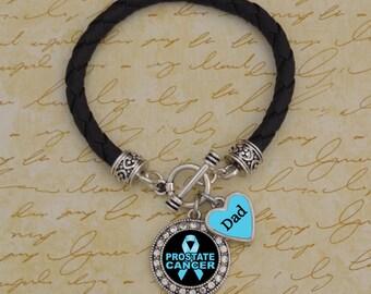 Custom Loved One Prostate Cancer Leather Bracelet