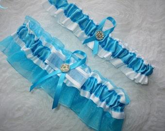 Turquoise and White Garter Set, Keepsake and Toss-away Garter Set, White Garter, Ribbon Garter, Prom Garter, Bridal Garter, Wedding Garter