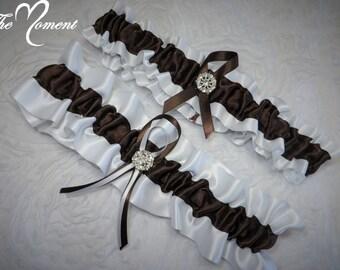 White and Brown Garter Set, Keepsake and Toss-away Garter Set, Ribbon Garter, Prom Garter, Brown Garter, Bridal Garter, Wedding Garter