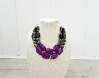 Purple and Black Faceted Gem Statement necklace