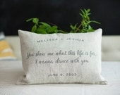 Handmade Love Pillow, Natural Linen Cushion, Custom Love Quote Pillow, Wedding, Anniversary, Bridal Shower Gift, PILLOW INSERT INCLUDED