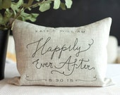 Happily Ever After Handmade Love Pillow, Calligraphy Wedding, Anniversary, Bridal Shower Gift, PILLOW INSERT INCLUDED