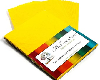 """Handmade Mulberry Paper for Arts, Crafts and Scrapbooking (12 Sheets of 8.5"""" x 11"""") - Heavyweight - Yellow"""
