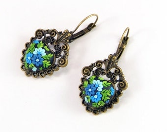 Floral Earrings Applique - Polymer clay jewelry  - Romantic Jewelry -  Blue color earrings