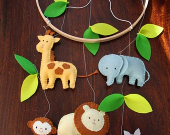 Safari Animal mobile- perfect for nursery, baby/children's room. Custom colours available. Wool felt.