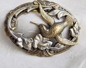 Bird Brooch, Brooch Pin, Hummingbird Pin, Bird Theme Pin, Hummingbird Brooch, Art Nouveau Bird Pin, Antiqued Brass Bird Motif, Bird Jewelry