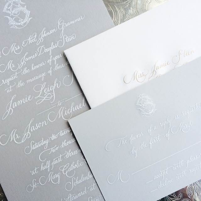 Custom Hand Calligraphy Suite For Wedding Invitations