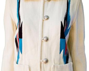 1950s Large Chimayo Jacket Womens Plus Size Native American White Wool South Western Cowboy Fred Harvey Mod Indian Blanket El Grande Tribal