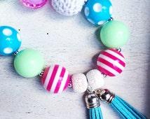 CLEARANCE!! RTS! Girls or Ladies Aqua Tassel Chunky Bubblegum Bead Necklace