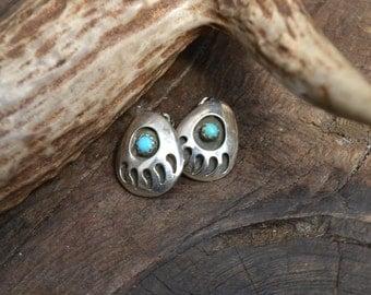 Clip on sterling silver earrings, clip on sterling earrings, bear paw sterling clip on earrings, bear claw earrings, navajo earrings