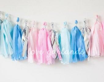 Pink, Blue, Silver Tassel Garland (15)