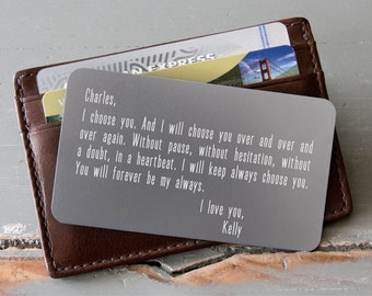 Personalized Wallet Card, Metal Wallet Insert, Custom Wallet Insert: Valentine Day, Anniversary Gift for Men, Wedding Day Gift for Groom