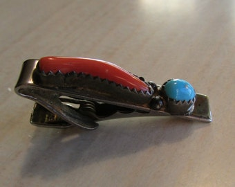Coral and Turquoise Navajo Style Tie Bar