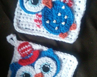 Crochet Boy Girl Patriotic Owl Potholder Patterns Only