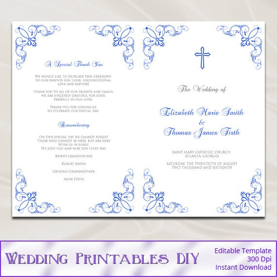 Catholic wedding program template diy royal blue ceremony for Templates for church programs