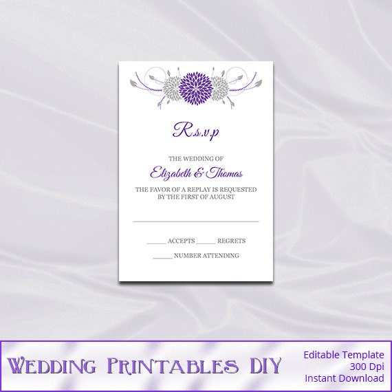 Items Similar To Purple Silver Wedding RSVP Template