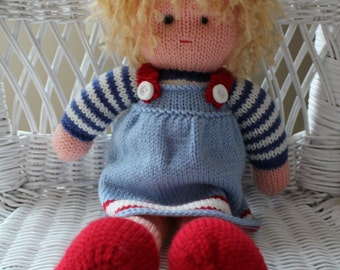 Emmeline the Handknit Doll with Adorable Blonde Curly Hair