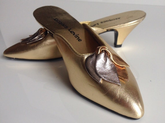 6m jasques levine gold bedroom slippers slip on kitten heel for H m bedroom slippers