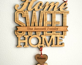 Personalized Home Sweet Home Family Name Sign - Retro Feel Wooden Sign