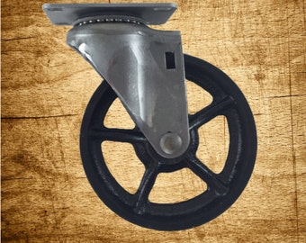5 inch Vintage Cast Iron Swivel Caster with Spoke Wheel Hub