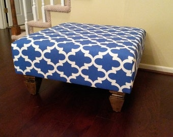 Upholstered Ottoman Coffee Table Dragon Fabric