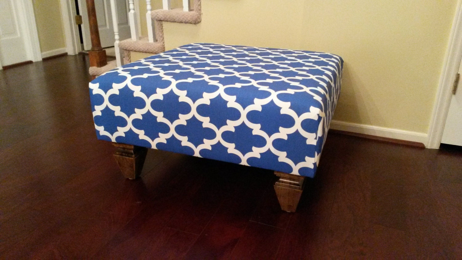 Upholstered Ottoman Coffee Table Blue And White