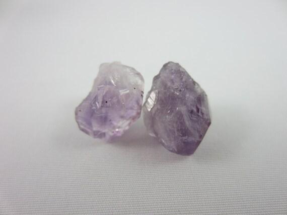 raw amethyst studs amethyst earrings raw amethyst