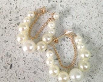 Faux Pearl Hoop Earrings In Multi