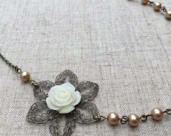 SALE! Light gold pearl necklace with ivory flower. Perfect for a bride or bridesmaid.