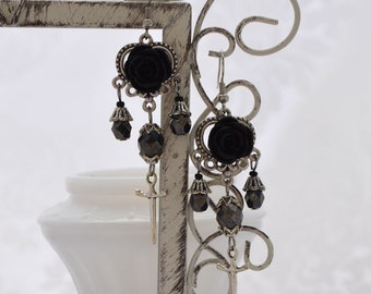 Vampiress - Silver and Jet Hematite Gothic Chandelier Earrings - VAMPE - Free US Shipping