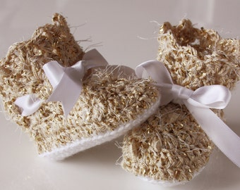 Gold Lacey Crochet Baby Booties