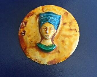 Vintage Art Deco Egyptian Revival Enamel Nefertiti Pin Brooch Made in Germany