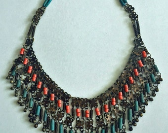 Sale 20% Off // Vintage Egyptian Revival 1920s Faience Necklace // Coupon Code SALE20