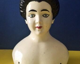 Vintage Ceramic Doll Bust Doll Head with Black Hair Blue Eyes