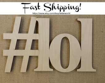 Wooden Hashtag Sign - #LOL - Photo Prop