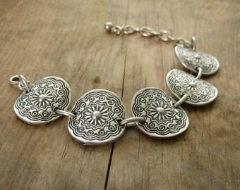Bohemian Jewelry Concho Bracelet - Southwestern, Western, Ethnic, Silver Boho Bracelet