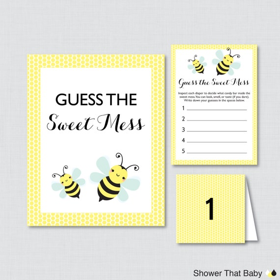 Bumble bee baby shower diaper candy bar game printable guess for Food bar games free online
