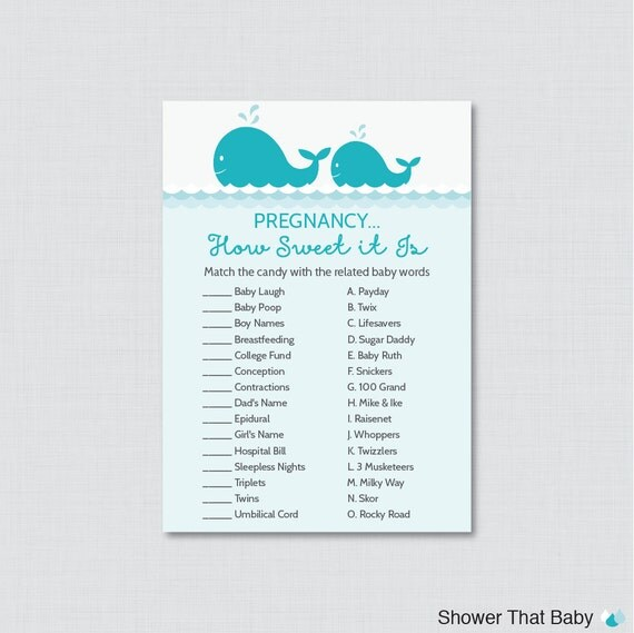 Sweet Sweet Baby Baby Shower Game: Whale Baby Shower Pregnancy How Sweet It Is Game Printable