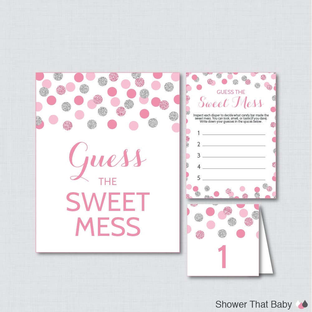 pink and gray baby shower diaper candy bar game printable