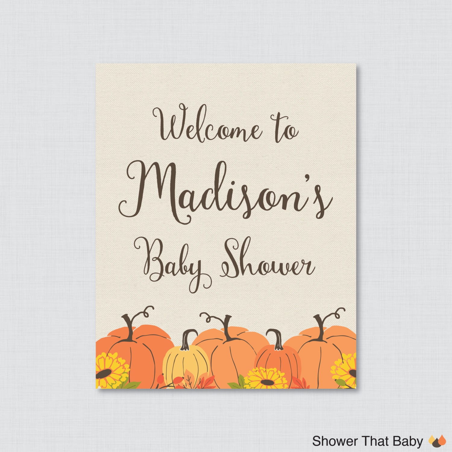 pumpkin baby shower welcome sign printable personalized shower