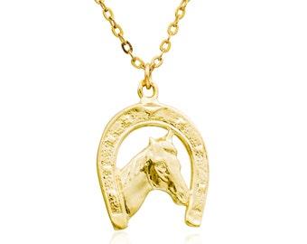 Horseshoe necklace -GOLD Fill 14K horse pendant handmade jewelry
