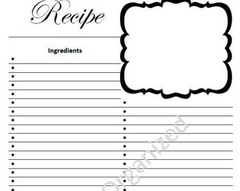 Simple recipe card