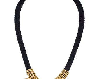 Black And Gold Necklace, Black Cotton Cord Necklace, Black And Gold Statement Necklace