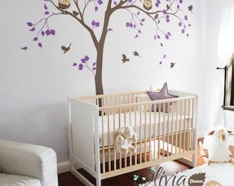 Cute Nursery tree birds Owls decal - Large Baby Nursery Vinyl Wall Tree Decal wall decoration - NT050