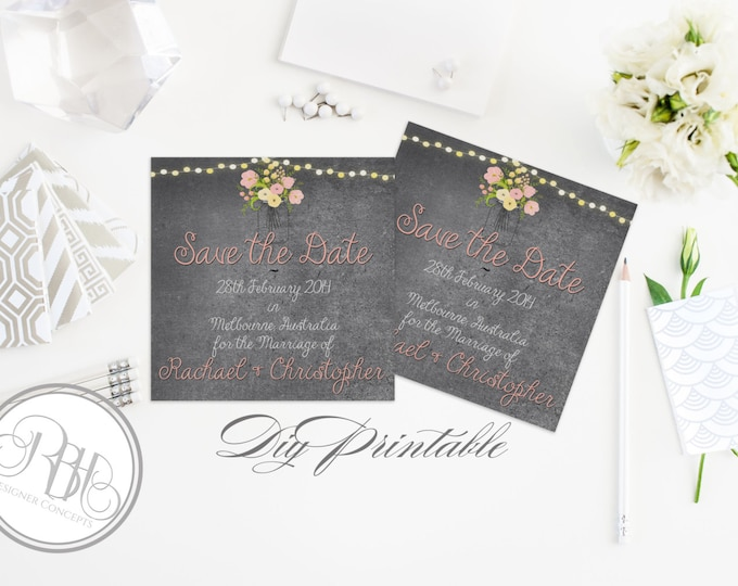 Rustic Save the Date Wedding Template -INSTANT DOWNLOAD Diy Editable Text Only - Chalkboard, Mason Jar, String Lights, Pink Yellow -Yolanda