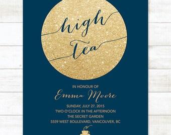 navy gold high tea invitation, navy gold afternoon tea invitation, birthday tea invitation, bridal tea party invitation, high tea party