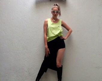 Vintage 90s Nike neon lime green sportswear drop armhole vest top size L