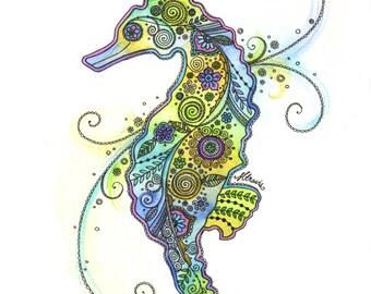 Pretty Little Seahorse Doodle Print
