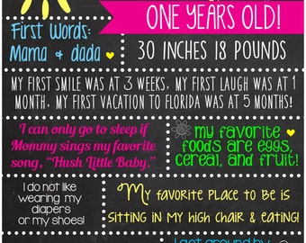 Bright and Cheery About me Facts: Birthday Chalkboard, first day/last day of school facts